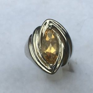 Yellow Citrine Marquise Cut Sterling Silver Size 8
